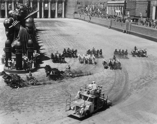 Picture taken during the filming of the Ben Hur chariot race
