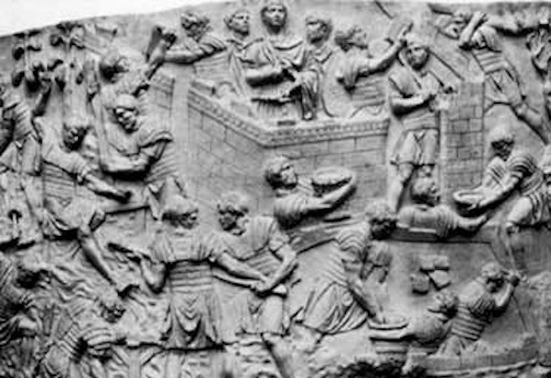 Roman soldiers building a wall. Relief from Trajan's Column in Rome.