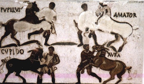 An ancient Roman mosaic floor with the names and images of famous race horses in the Circus Maximus