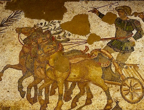 Ancient mosaic depicting triumph of the horses and charioteer in a race