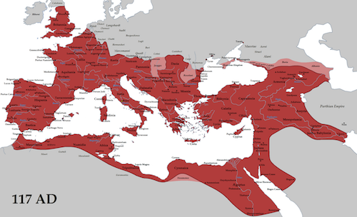 Roman Empire in Red under Emperor Trajan