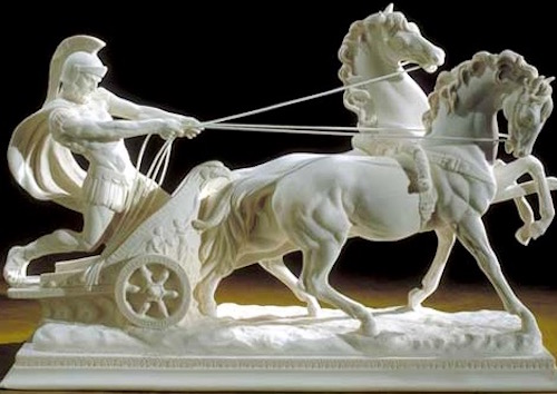 Sculpture of a Roman warrior with his andalusian steeds