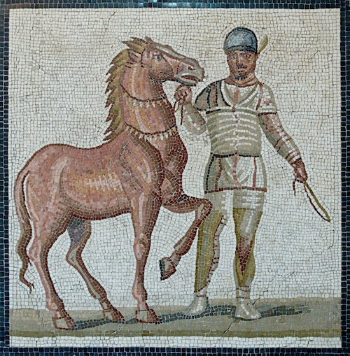 3rd century mosaic of a horse and a charioteer for the White Team