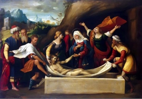Entombment of Christ, Garofalo 1520—Grafalo had perhaps seen one of the exhibitions of the Shroud in order to paint its long dimensions and have known the fact the body was wrapped as they are doing in the painting.