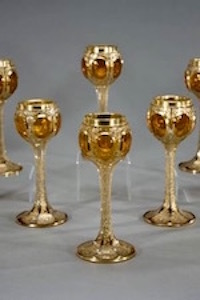 19th century Ludwig Moser gold goblets