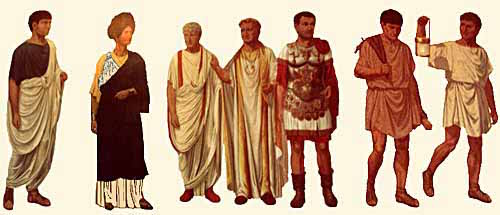 Traditional Greco-Roman Garb (togas on left and shorter tunics on right).