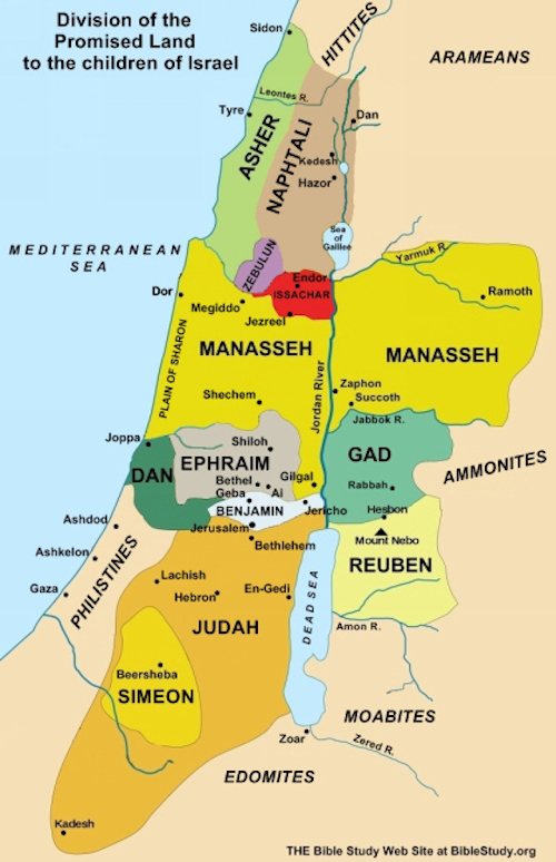 The division of the Promised Land after Israel had conquered the territory