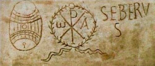 Marble catacomb inscription of a Christian man named Seberus, Pio Cristiano: Vatican Museum