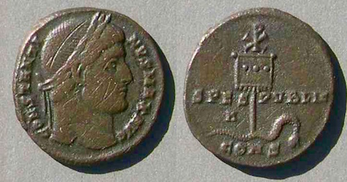 Small Constantine coin (c. 307-337) with Chi Rho on obverse