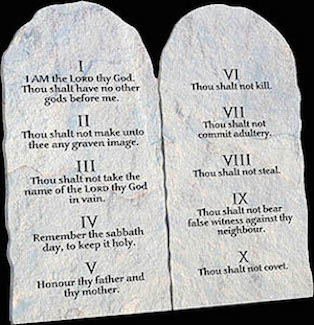 The Ten Commandments, also known as the Decalogue, were given to the the Israelites by God at Mount Sinai. God inscribed them on two stone tablets, which He gave to Moses.