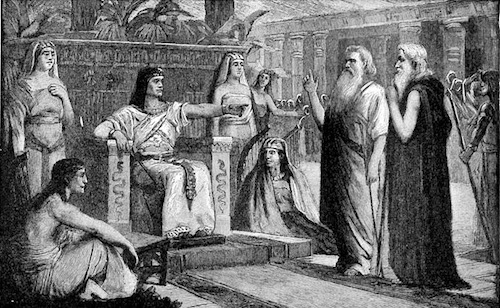 Moses and his brother Aaron in front of Pharaoh—1854 engraving