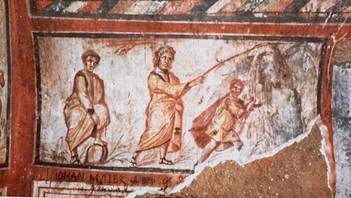Fresco in Catacomb of Callixtus of Moses Striking Rock, 300's AD