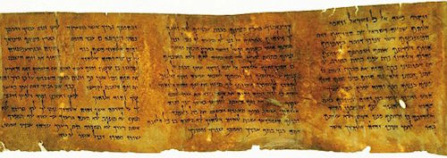 From the The Ten Commandments scroll, part of the Dead Sea Scrolls (c.400–c.200 BC). An amazingly well-preserved papyrus of the 10 Commandments.