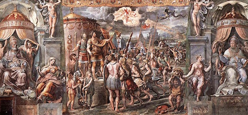 Raphael and students' early 16th century painting Vision of the Cross in the Apostolic Palace of the Vatican clearly shows In Touto Nika across the sky, so the painter and his assistants used information from Eusebius' Greek text.