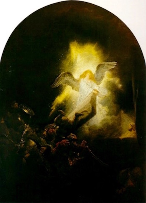 The Resurrection— Rembrandt, 1638 (Notice resurrected Jesus behind the angel)