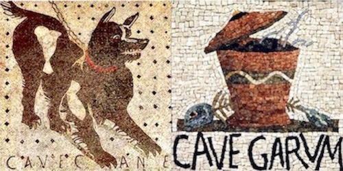 "Ancient Roman mosaic sign—""Cave Canem"" (""Beware of Dog"") Modern parody of Roman sign—""Cave Garum"" (""Beware of Garum"")"