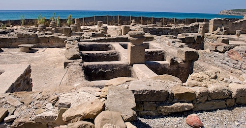 Ruins of a Garum factory in Baelo Claudia in Spain