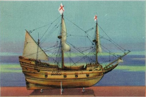 "Model of ""The Mayflower""— Plymouth Hall, Plymouth MA"