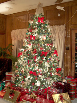 i love our christmas trees they are always big tall unwieldy and have lots of lights and ornaments hung strategically on their prickly bowing branches