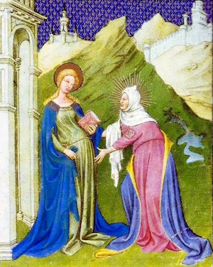 Elizabeth Greets Her Cousin Mary—From Duc de Berry's Book of Hours c. 1416