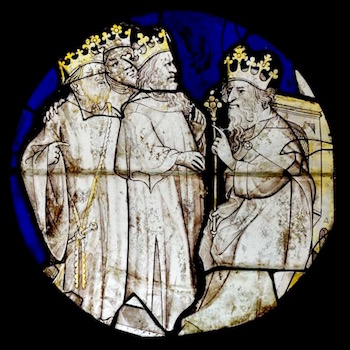 Herod and the Magi—15th century stained glass