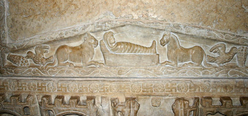 One of earliest depictions of the Nativity: marble sarcophagus, 300's AD, Milano