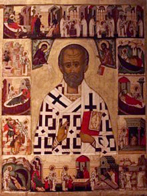 Russian icon of St Nicholas and scenes from his life c. 15th-16th century. National Museum, Stockholm